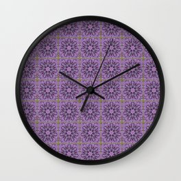 Tiled Abstract Of Pink Hydrangea Flowers Wall Clock