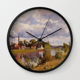 The River Oise Near Pontoise 1873 By Camille Pissarro | Reproduction | Impressionism Painter Wall Clock