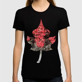 Pink red ivy leaves autumn stone wall T-shirt