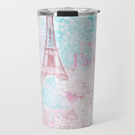 I love Paris - Vintage  Shabby Chic in pink - Eiffeltower France Flowers Floral Travel Mug