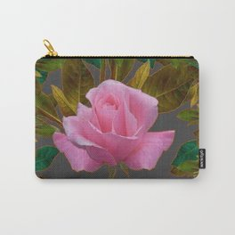 LEAFY PINK ROSE GARDEN & GREY PATTERNS ART Carry-All Pouch