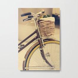 Let's Take a ride (Vintage Brown Bike) Metal Print