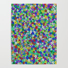 Colorful Daisies. Vibrant Colorful Pattern With Many Flowers Poster