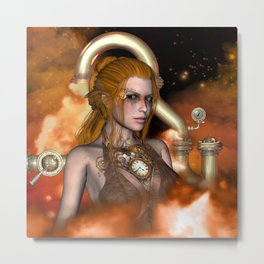 Steampunk, Beautiful steampunk women Metal Print