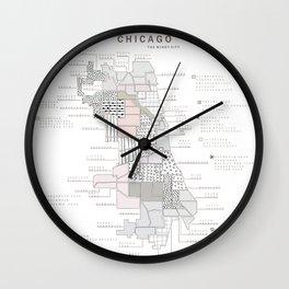 Chicago Neighborhoods Map Wall Clock