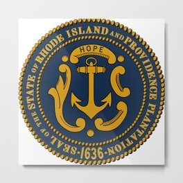 Rhode Island and Providence Plantations Hope and Anchor art portrait  Metal Print