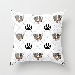 Australian Shepherd Paw Print Pattern Throw Pillow