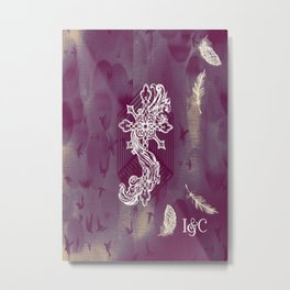 Gothic Cross: purple Metal Print
