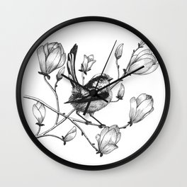 long tailed tit in a magnolia tree Wall Clock