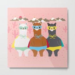 Alpaca Superheroes I Metal Print