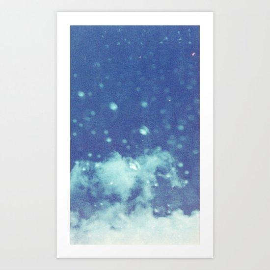 Blue and purple bubble clouds II Art Print