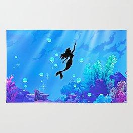 Beauty Mermaid Blue Sea Rug