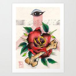 The Eye, The Rose, The Bone Art Print
