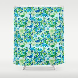 Retro Peacock Shower Curtain