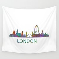 uk Wall Tapestries featuring London UK Skyline HQ  by HQPhoto
