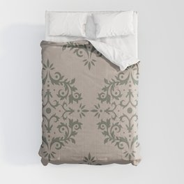 Moody Green Neutral Beige Damask Scroll Pattern 2021 Color of the Year Contemplative and Stucco Comforters