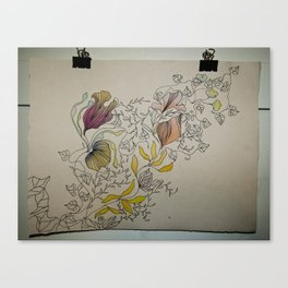 Illustration with Floral Canvas Print