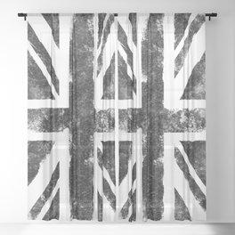 Black UK flag Sheer Curtain