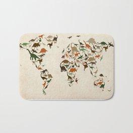 Dinosaur Map of the World Map Bath Mat