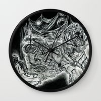 salvador dali Wall Clocks featuring Salvador Dali by Art & Ink