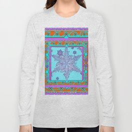 BLUE ICELANDIC STYLE BLUE-LILAC SNOWFLAKE ART Long Sleeve T-shirt