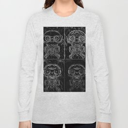 funny skull and bone with glasses in black and white Long Sleeve T-shirt