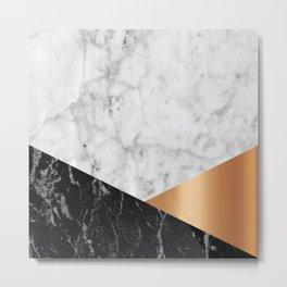 White Marble Black Granite & Rose Gold #715 Metal Print