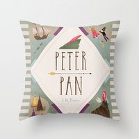 peter pan Throw Pillows featuring Peter Pan by emilydove