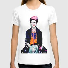 Frida Kahlo by Paola Gonzalez MEDIUM Womens Fitted Tee White