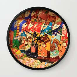 A lot of souvenirs of nesting dolls Wall Clock