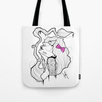 bow Tote Bags featuring BOW by Chris Kies