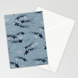 Orca in Motion / blue-gray ocean pattern Stationery Cards
