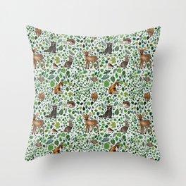 Woodland Animal Friends Throw Pillow