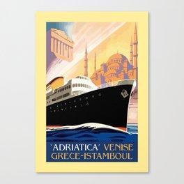 Venice Greece Istanbul shipping line retro vintage ad Canvas Print