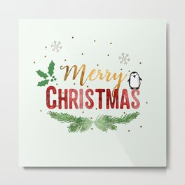 Merry Christmas Penguin! Metal Print