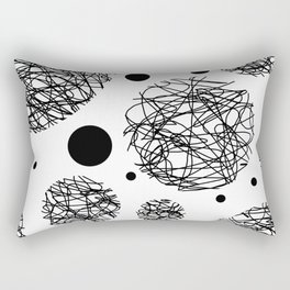 Scribbles - Black and white scribbles and black circles pattern on white Rectangular Pillow