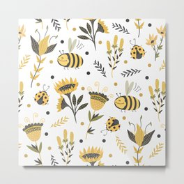 Bees and ladybugs. Gold and black Metal Print