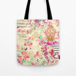 Flowers Mix Vintage Patchwork Tote Bag