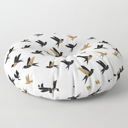 Origami Birds Collage II, Bird Decor Floor Pillow