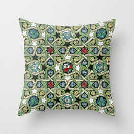 8-fold Rosettes with Flowers Throw Pillow