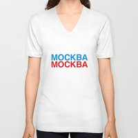 moscow V-neck T-shirts featuring MOSCOW by eyesblau