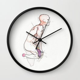 Atlas rests, nude fit male surrealist, NYC artist Wall Clock
