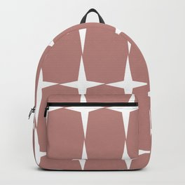 Atomic Age Starburst Pattern in 50s Pink and White. Minimalist Monochrome Mid-Century Modern Backpack