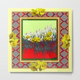 DECORATIVE RED-GOLD WHITE DAFFODIL GARDEN  ART Metal Print