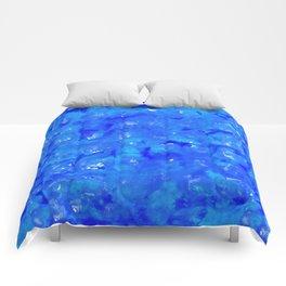 Tie Dye Shibori Water Cubes in Ocean Blue Comforters