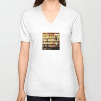 bokeh V-neck T-shirts featuring Book Bokeh by Kevin Russ