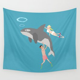 Swim with dolphin Wall Tapestry