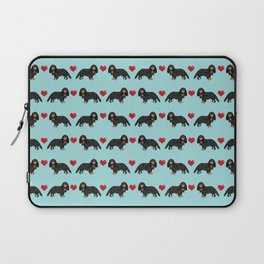 Cavalier King Charles Spaniel black and tan valentines day love hearts dog breed patterns gifts Laptop Sleeve
