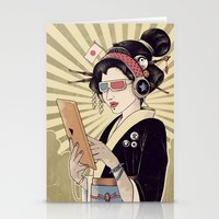 geisha Stationery Cards featuring Geisha by Azrhon
