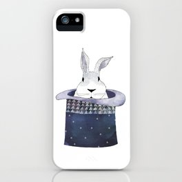 Mr. Rabbit and the Mad Hatter hat iPhone Case